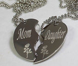 PERSONALIZED SPLIT HEART MOTHER DAUGHTER  NECKLACE SET STAINLESS STEEL