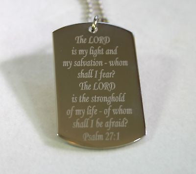 PSALM 27:1 PRAYER RELIGION SPECIAL DOG TAG NECKLACE STAINLESS STEEL