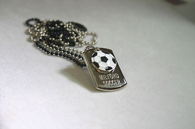 SOCCER FOOTBALL STAINLESS STEEL 3D TAG NECKLACE PENDANT