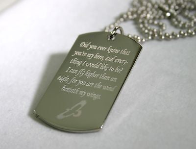 WIND BENEATH MY WINGS SOARING EAGLE STAINLESS STEEL  DOG TAG NECKLACE