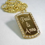 GOLD PLATED NECKLACE PENDANT DOG TAG CZ ICED OUT CUSTOM