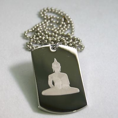 BUDDHA  DOG TAG STAINLESS STEEL AND STAINLESS BALL CHAIN NECKLACE PENDANT