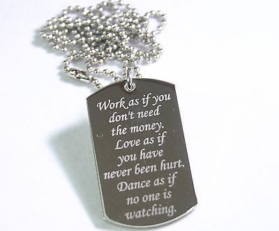 LIVING LIFE SPECIAL  MESSAGE NECKLACE PENDANT DOG TAG STAINLESS STEEL