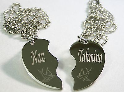 PERSONALIZED SPLIT HEART STAINLESS STEEL SWALLOWS NECKLACE SET