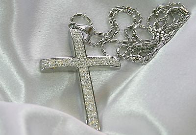 HIP HOP CZ  BLING STAINLESS STEEL CROSS AND RHODIUM PLATED NECKLACE - Samstagsandmore