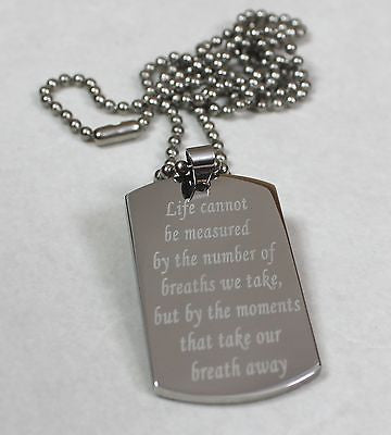 LIVE LIFE QUOTE POEM SOLID STAINLESS STEEL MOTIVATIONAL DOG TAG