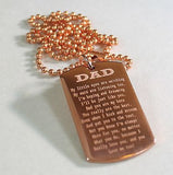 DAD, MOM, SISTER, BROTHER MESSAGE SPECIAL NECKLACE POEM DOG TAG SOLID COPPER - Samstagsandmore