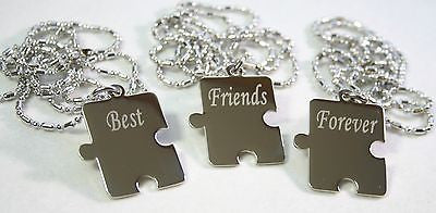 PERSONALIZED PUZZLE PIECES PENDANTS NECKLACE X3 FRIENDS, SIBLINGS, TEAM, COUSINS
