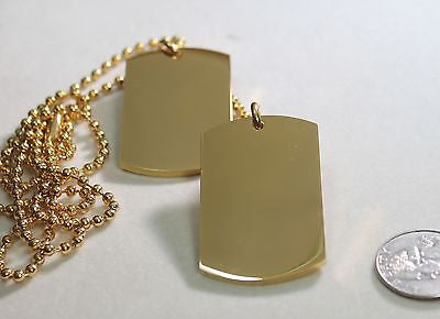 GOLD IPG PLATED PENDANT 2  DOG TAG SOLID  STAINLESS STEEL MILITARY STYLE