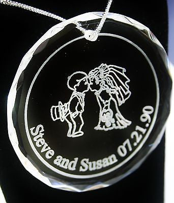 CUSTOM KISSING COUPLE WEDDING MARRIAGE  CRYSTAL ORNAMENT