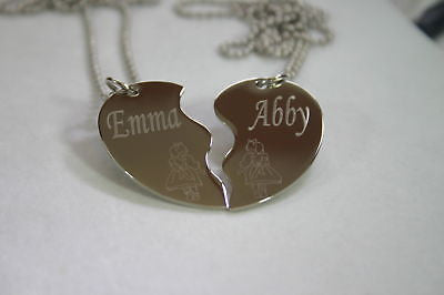 PERSONALIZED SPLIT HEART BFF LITTLE GIRLS  NECKLACE SET STAINLESS STEEL