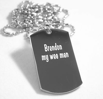 PERSONALIZED PICTURE STAINLESS STEEL DOG TAG AND NECKLACE ENGRAVE YOUR MESSAGE silver2950photo1 - Samstagsandmore