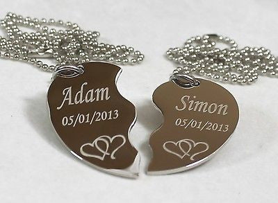 PERSONALIZED SPLIT HEART INTERTWINED HEARTS STAINLESS  IMAGE  NECKLACE SET TAGS