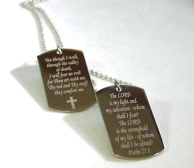 PSALM STAINLESS STEEL TAGS CUSTOM PRAYER MILITARY STYLE  NECKLACE - Samstagsandmore