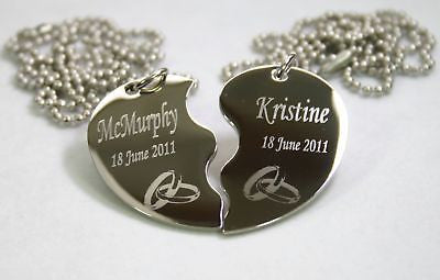 STAINLESS STEEL PERSONALIZED SPLIT HEART WEDDING BANDS NECKLACE SET
