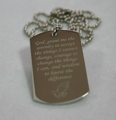 CROSS /SERENITY PRAYER  DOG TAG NECKLACE STAINLESS STEEL