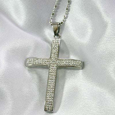 HIP HOP CZ  ICED OUT STAINLESS STEEL CROSS AND RHODIUM PLATED NECKLACE - Samstagsandmore