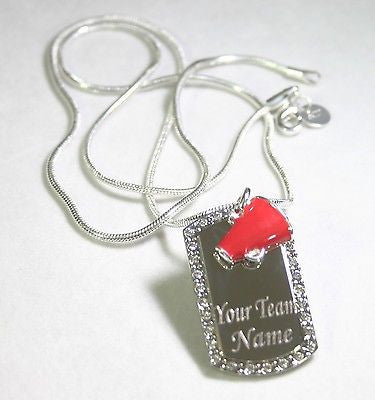CHEERLEADING  .925  NECKLACE CZ PENDANT WITH CHARM RED  FREE ENGRAV SEND IN MESS