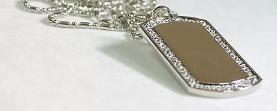 RHODIUM PLATED CZ BLING, CUSTOM DOG TAG NECKLACE - Samstagsandmore