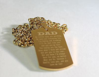 DAD, MOM, SISTER, BROTHER MESSAGE SPECIAL NECKLACE POEM DOG TAG STAINLESS STEEL