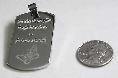 CATERPILLAR TURNS INTO BUTTERFLY MOTIVATIONAL SOLID STAINLESS STEEL NECKLACE