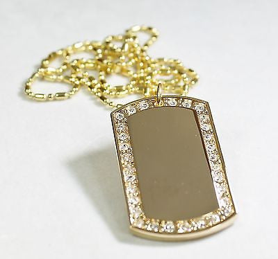 GOLD TONE PLATED FRAME CZ BLING, ICED OUT, ICE  CUSTOM DOG TAG NECKLACE
