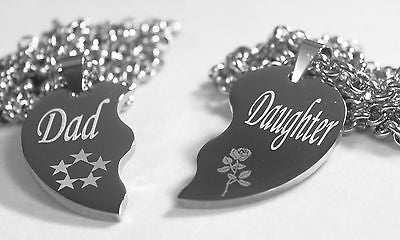 SOLID STAINLESS STEEL DAD  DAUGHTER  SPLIT HEART NECKLACES LOVE FREE ENGRAVING