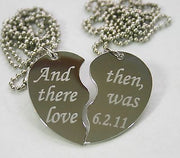TEXT ONLY SPECIAL WORDS SPLIT HEART TAG NECKLACES FREE ENGRAVING STAINLESS STEEL - Samstagsandmore