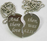 TEXT ONLY SPECIAL WORDS SPLIT HEART TAG NECKLACES FREE ENGRAVING STAINLESS STEEL