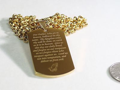THE LORD'S PRAYER OUR FATHER NECKLACE POEM DOG TAG STAINLESS STEEL - Samstagsandmore