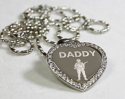 CZ BLING HEART MILITARY SON DAD. BROTHER NECKLACE ARMY NAVY AIRFORCE MARINE