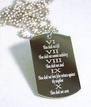 TEN COMMANDMENTS SOLID STAINLESS STEEL  DOG TAG NECKLACE - Samstagsandmore