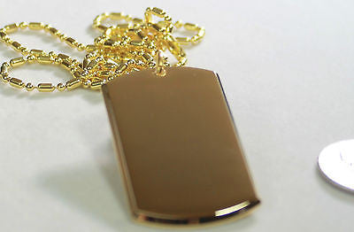GOLD TONE PLATED 3D DOG TAG PENDANT NECKLACE FREE ENGRAVE