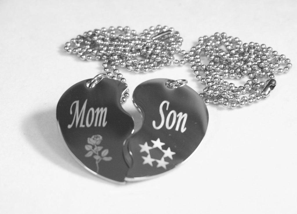 SPLIT HEART MOM SON  DOG  TAG STAINLESS STEEL  NECKLACE PENDANTS