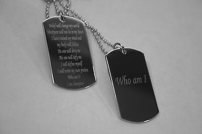 MOTIVATIONAL DOG TAGS MILITARY STYLE CUSTOM NECKLACE SOLID STAINLESS STEEL
