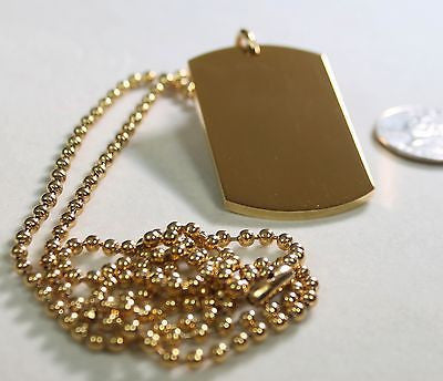 GOLD IPG PLATED PENDANT  DOG TAG SOLID  STAINLESS STEEL NECKLACE BALL CHAIN - Samstagsandmore