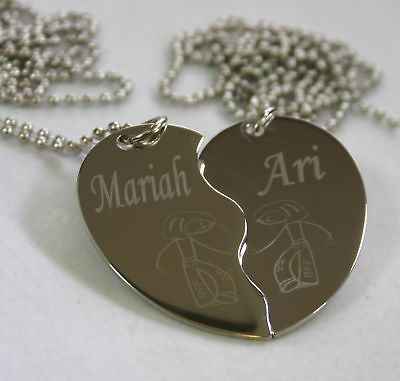 PERSONALIZED SPLIT HEART GIRL GIRL BFF  NECKLACE SET STAINLESS STEEL