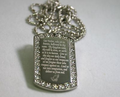 THE LORD'S PRAYER OUR FATHER CZ ICED OUT  BLING DOG TAG NECKLACE CHAIN PENDANT