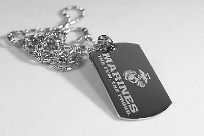 PERSONALIZED MARINE MILITARY STAINLESS DOG TAG AND RHODIUM SAUSAGE CHAIN