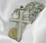 HIP HOP CZ  ICED OUT STAINLESS STEEL CROSS AND RHODIUM PLATED NECKLACE