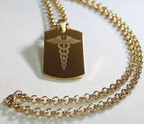 CADUCEUS MEDICAL INSIGNIA IPG GOLD  NECKLACE  DOG TAG STAINLESS STEEL COLOR GOLD