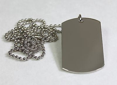 STAINLESS STEEL BLANK DOG TAG PENDANT NECKLACE