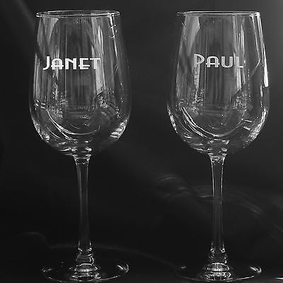 2 PERSONALIZED  WINE GLASSES YOUR NAME 18.5 OZ EACH SAND CARVED - Samstagsandmore