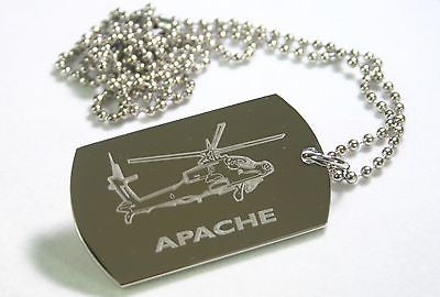 APACHE HELICOPTER MILITARY STAINLESS STEEL  DOG TAG NECKLACE FREE ENGRAVING
