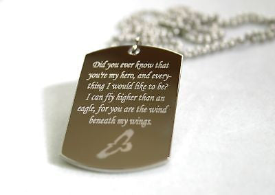 WIND BENEATH MY WINGS SOARING EAGLE STAINLESS STEEL  DOG TAG NECKLACE - Samstagsandmore