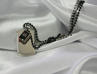 HOLY BIBLE CHARM, DOG TAG NECKLACE, 3D OR  CZ, FREE ENGRAVING