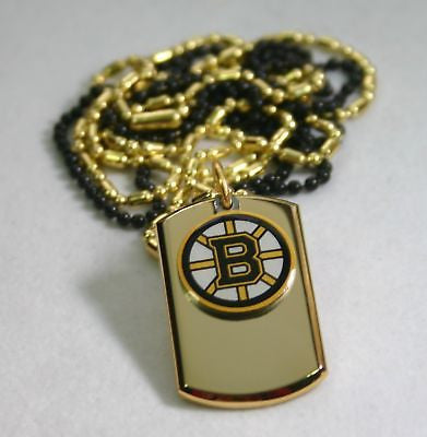 BOSTON BRUINS GOLD IPG STAINLESS STEEL DOG TAG NECKLACE TAG PENDANT ENGRAVE