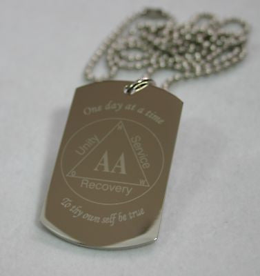 ALCOHOLICS ANONYMOUS SPECIAL RECOVERY PENDANT DOG TAG SOLID STAINLESS STEEL - Samstagsandmore