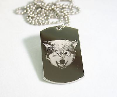 STAINLESS STEEL WOLF SNARLING   DOG TAG NECKLACE PENDANT
