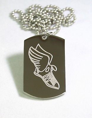 RUNNERS TENNIS SHOE WITH WINGS DOG TAG NECKLACE STAINLESS STEEL MOTIVATIONAL - Samstagsandmore
